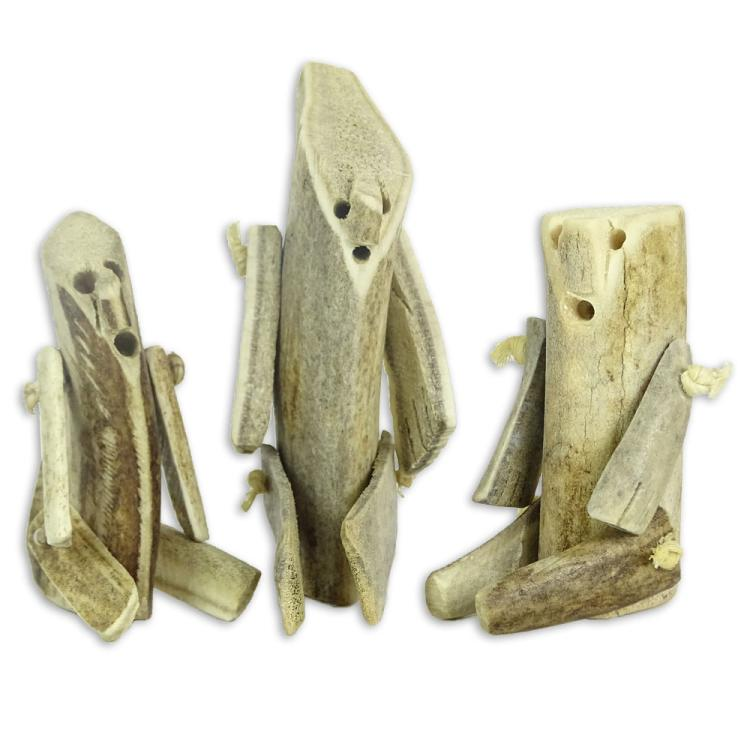 Collection Of Three Antique Inuit Bone Dolls Carved From Ca