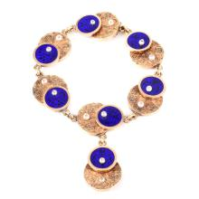 Antique Russian Faberge 56 Gold (14K), Guilloche Enamel and Seed Pearl Bracelet with Locket