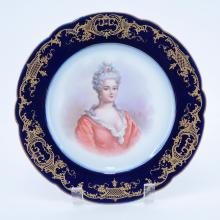 19/20th Century Sevres Portrait Plate. Painted with a bust-length portrait of Duchess de Berry