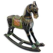 Large Mid Century Indian Wood Carved and Painted Rocking Horse