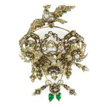 Museum Quality Large 19th Century Turkey Late Ottoman Rose Cut and Old Mine Cut Diamond, Enamel, Yellow Gold and Silver Articulated Bird Brooch