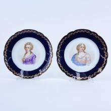 Pair of 19/20th Century Sevres Chateau de St Cloud Cobalt and Gilt Hand painted Cabinet Plates