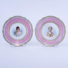 Pair of 19/20th Century Sevres Porcelain Chateau de Tuileries Rose Pompadour and Gilt Hand painted Cabinet Plates
