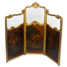 19/20th Century Probably French Carved and Giltwood Folding Screen with Painted Panels and Beveled Glass