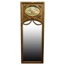 Large Louis XVI Style Gilt Carved Trumeau Mirror with Oil on Canvas Depicting Animals