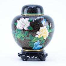 20th Century Chinese Black and Floral Cloisonné Ginger Jar on Wooden Stand