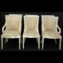 Set of Six (6) Mid Century Modern Tassellated Bone and Upholstered Dining Chairs Attributed to Karl Springer