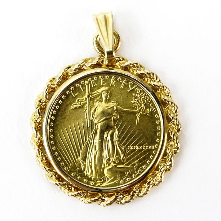 US Standing Liberty $5 Gold Coin Pendant With 14 Karat Yello