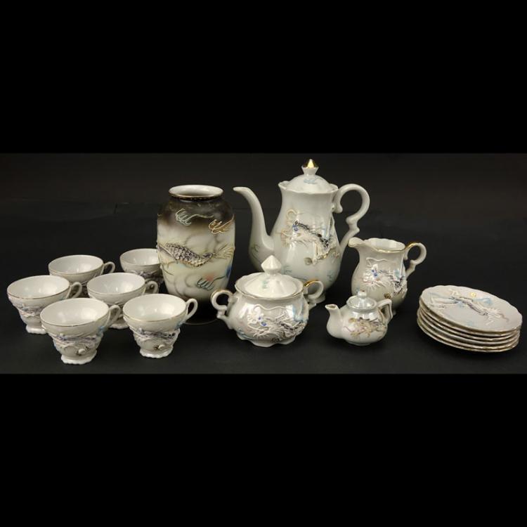 Vintage Japanese Dragonware Moriage Tea Set And Tablewares