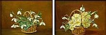 """Elizabeth Fisher, American (1871-1959) Pair of oil on canvas Floral Still Life paintings. Signed. Good condition. Measures 7-1/8"""" x 10-1/4"""", frame 12"""" x 15"""". Shipping $65.00"""