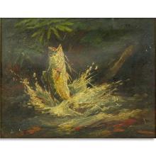 "Charles Frederick (William) Mielatz, American (1864 - 1919) Oil on canvas ""Oswego Bass, Caloosahatchie River, FLA"""