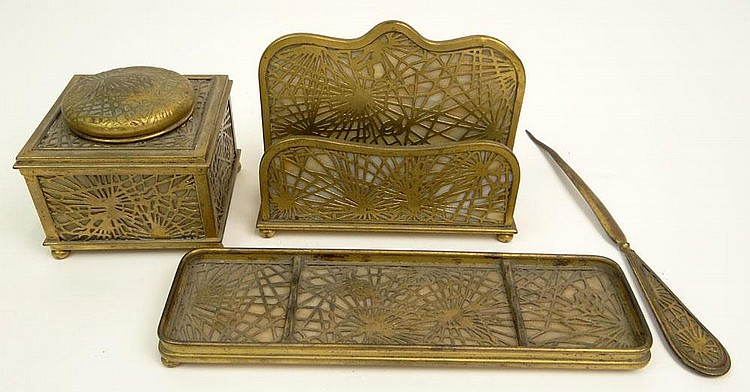 Early 20th Century Tiffany Studios New York Four (4) Piece