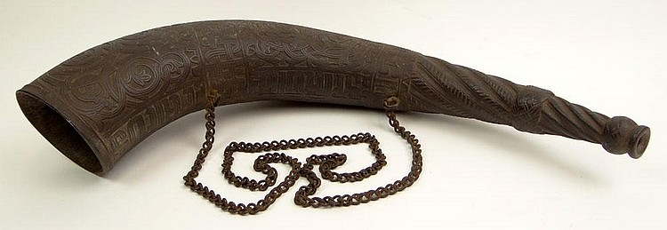 Rare 19th Century Celtic Iron Drinking Vessel with Chain and with Scrolling Vine and Lettering Decoration. Possibly Signed. Surface Wear Consistent with Age and Normal Use. Measures Approximately 20 Inches Long and 4 Inches Diameter. Shipping $68.00