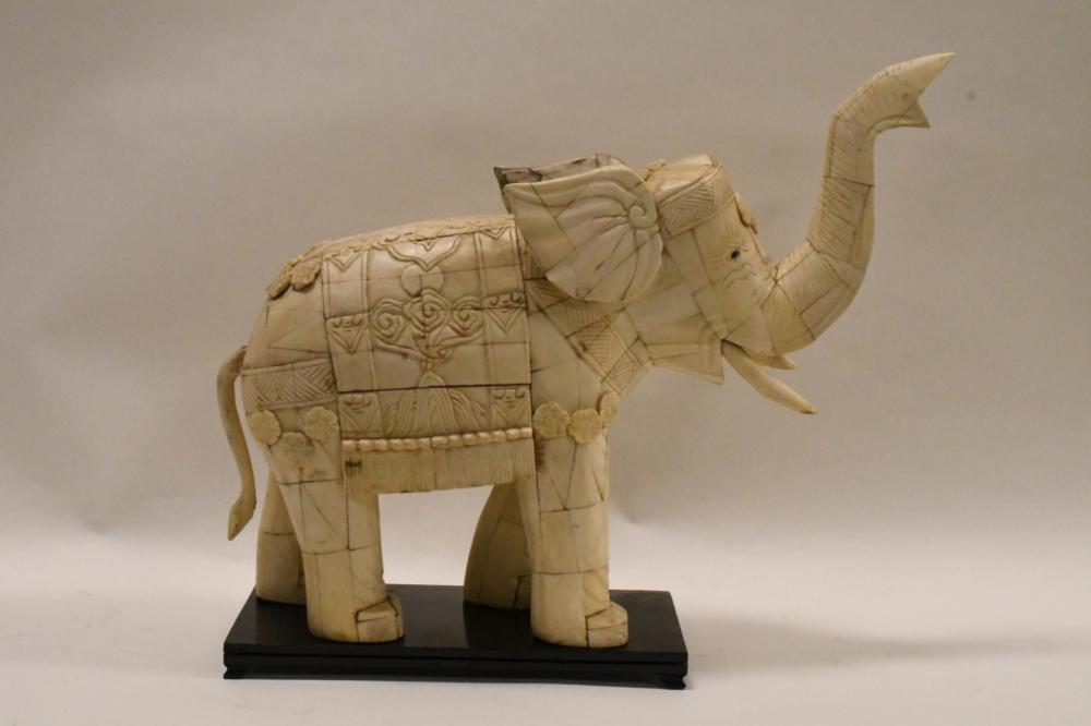 Vintage Carved Pieced Ox Bone Elephant Statue