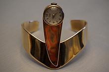 Chicago Artist John Kearney 14K Yellow Gold Watch Cuff Bracelet 54 Gram Weight Without Movement Watch Not Running