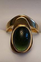 Chicago Artist John Kearney 14K Yellow Gold Green Tourmaline Ring  Size 7  5.8 Grams