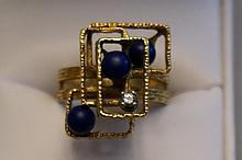 18K Yellow Gold Diamond & Lapis Abstract Ring  Size 8  10.2 Grams