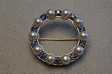 14K White Gold Pearl & Sapphire Pin  7.8 Grams