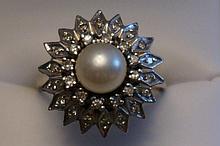 14K White Gold Pearl & Diamond Ring  Size 9-1/2  8.2 Grams