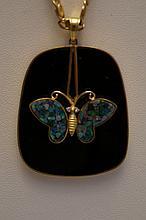 14K Yellow Gold Onyx & Opal Butterfly Pendant & 20