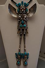 Vintage Sterling Silver Turquoise & Coral Eagle Dancer Kachina Bolo Tie By Artist Francisco Gomez  Bolo Measures 5