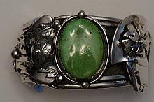 Navajo Sterling Silver Gaspeite Indian Feathers Cuff Bracelet by Artist Dan Nieto  117.8 Grams