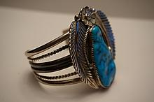 Vintage Navajo Sterling Silver & Turquoise Cuff Bracelet by Artist J. Charley  95 Grams