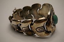 Vintage Sterling Silver & Turquoise Bracelet Signed M. Velazquez Mexico Sterling 7-1/4