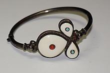 Sterling Silver & Ivory Bangle Bracelet  14.5 Grams