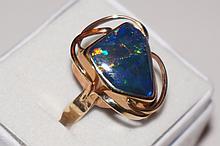 10K Yellow Gold Genuine Australian Opal Ring  Size 5-1/2  5 Grams