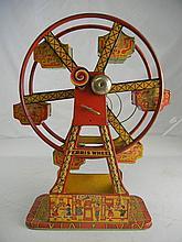 Antique J. Chein Tin Litho Key Wind Hercules Ferris Wheel 16-1/2