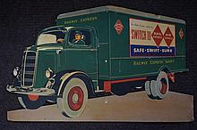 Vintage Railway Express Agency Delivery Truck Advertising Sign 38