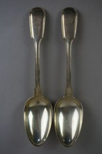 Pair of British Sterling Silver Tablespoons Lion Hallmark 5.96 Troy Ounces