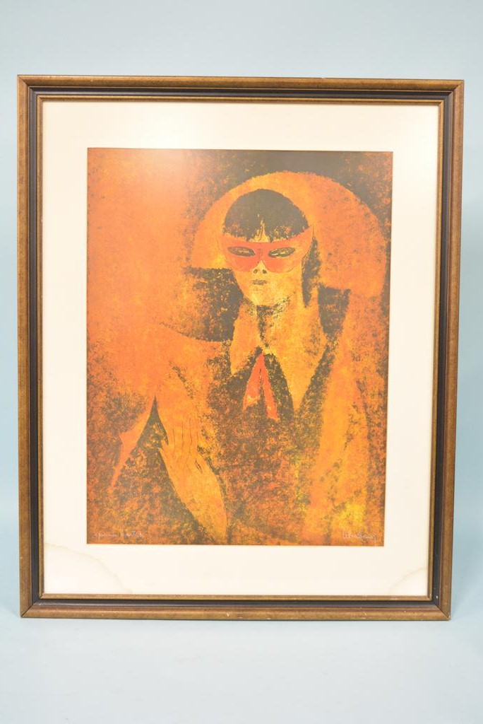 Vintage Lady With Mask Lithograph by Hoi Lebadang