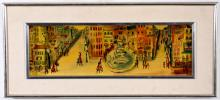 Large Signed Allen Stringfellow Painting of City Streets
