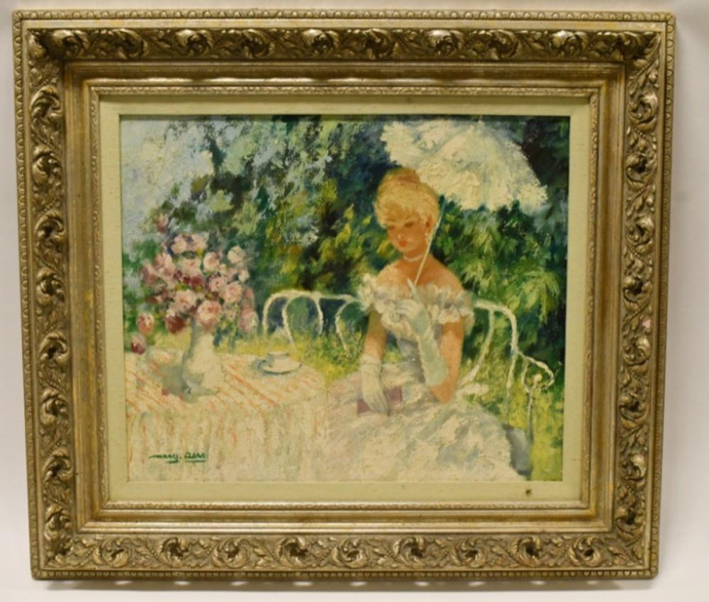 """Marguerite Aers """"Tea Time"""" Oil Painting On Canvas"""