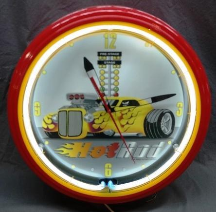Hot Rod Man Cave Neon Clock with Face Design by Mark Condello- NIB