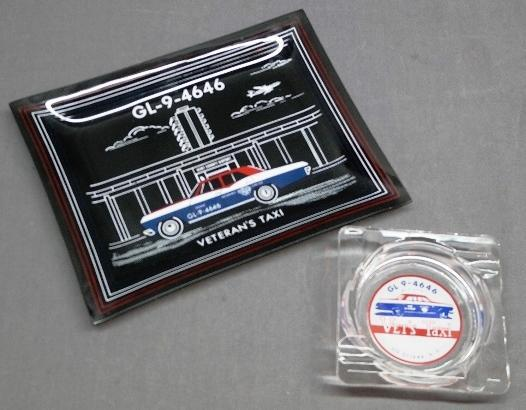 Lot of 2 Veteran's Vet's Taxi Glass Advertising Ashtrays- Early Phone number