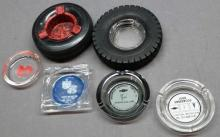 Lot of 6 Various Automotive and Tire Advertising Ashtrays- Studebaker, Chevy, Dodge +