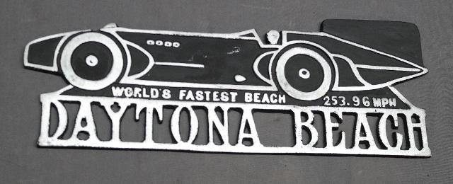 Cast Aluminum Daytona Beach Boat Tail Race Car Plaque/Sign