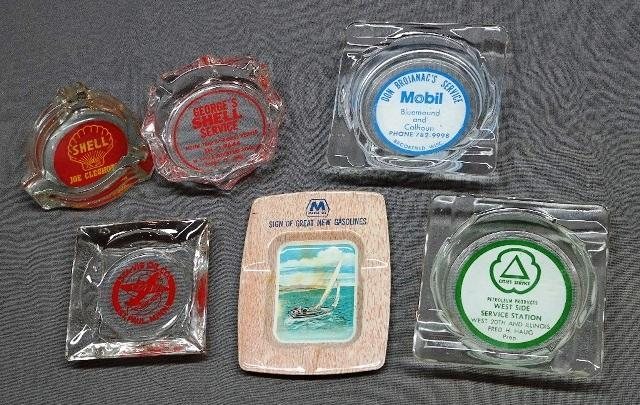 Lot of 6 Various Service Station Advertising Ashtrays- Sta-Vis with Airplane, Shell Oil, Marathon, Mobil, Cities Service