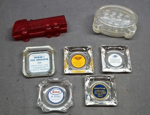 Lot of 6 Various Service Station Advertising Ashtrays and Banks- Esso Gasoline, Tires