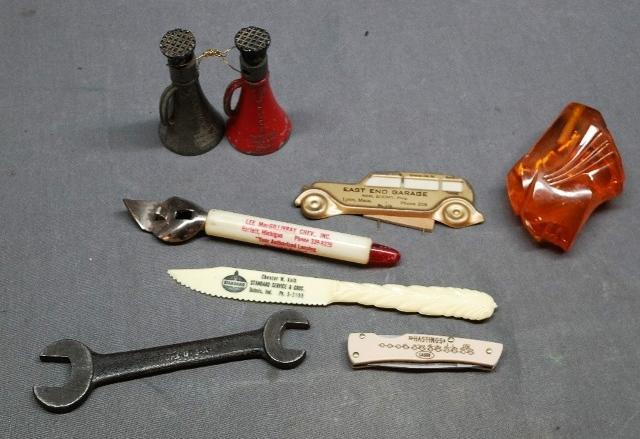 Lot of 8 Miscellaneous Automotive Advertising Items- Simplex Jacks, Pontiac Hood Ornament, and more