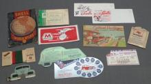 Lot of 12 Miscellaneous Service Station Paper Advertising Items- Marathon, Mobilgas, Shell, Esso and More