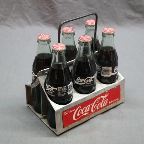 Aluminum Coca Cola 6 Bottle Carrier with Tin Label plates and 6 Newer bottles