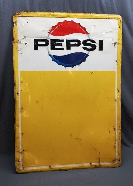 Pepsi Bottle Cap Sign with Large Privilege Panel- Rough