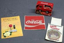 Lot fo 4 Coca Cola Advertising Items- 1968 Booklet, Buddly L Truck, 75th Anniversary Coaster, Patch.