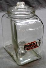 Early Planters Peanuts Counter Jar with Peanut Lid- Red White and Blue Logo
