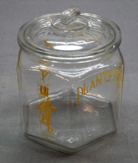 Early Planters Peanuts 6 Sided Counter Jar with Peanut Lid- Yellow Print
