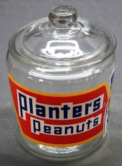 Planters Peanuts Counter Jar with Large Red White and Blue Logo